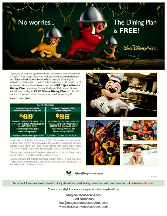 FREE DINING AT WALT DISNEY WORLD THIS FALL!